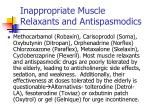 inappropriate muscle relaxants and antispasmodics