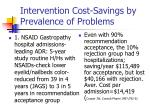intervention cost savings by prevalence of problems