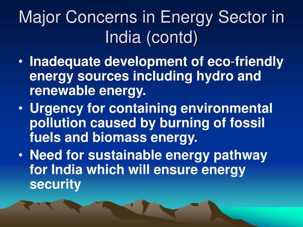 Major Concerns in Energy Sector in India (contd)