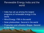 renewable energy india and the world