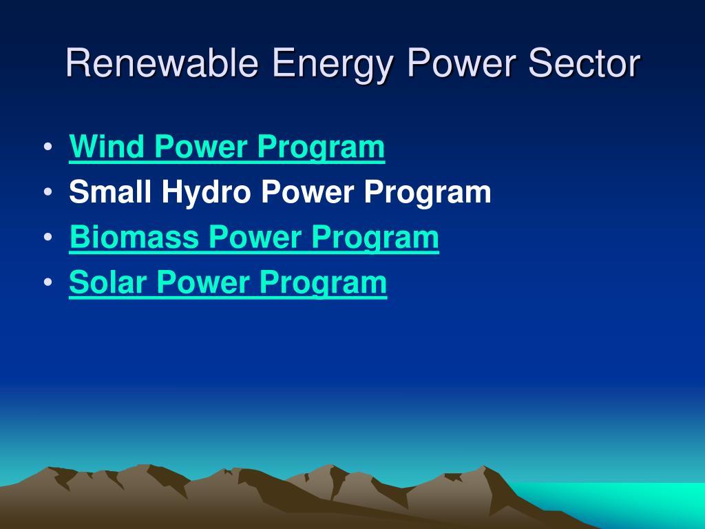 Renewable Energy Power Sector