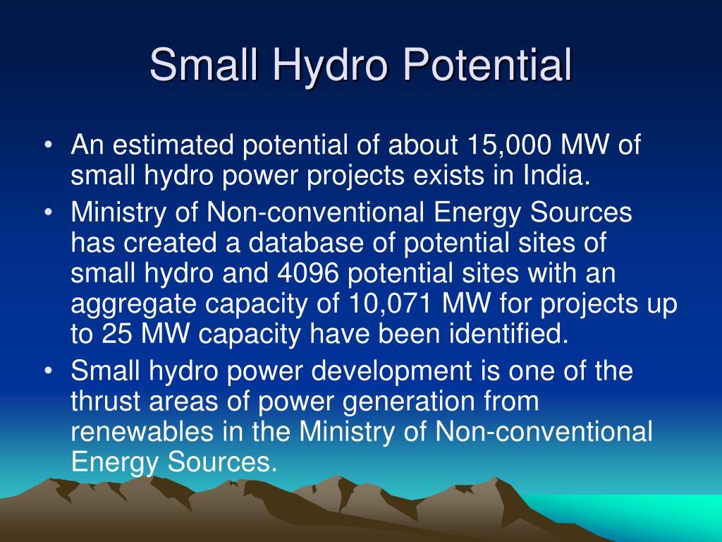 Small Hydro Potential