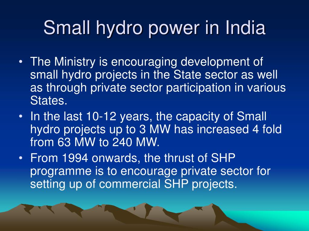 Small hydro power in India