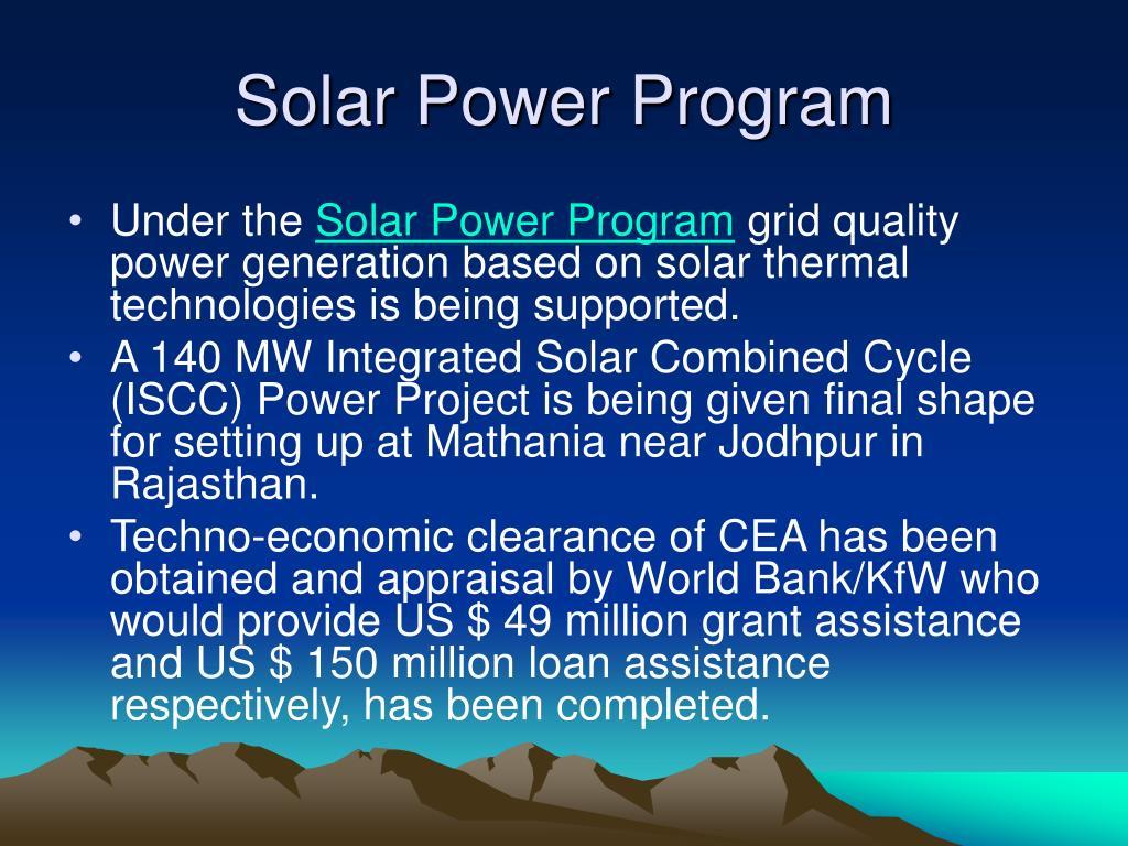 Solar Power Program