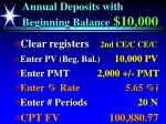 annual deposits with beginning balance 10 00081