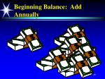 beginning balance add annually