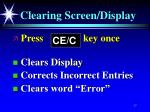 clearing screen display