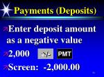 payments deposits
