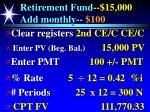 retirement fund 15 000 add monthly 100