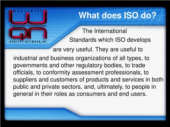 What does ISO do?
