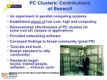 pc clusters contributions of beowulf
