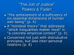 the job of justice powers faden