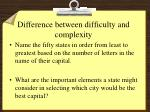difference between difficulty and complexity