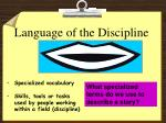 language of the discipline