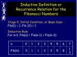 inductive definition or recurrence relation for the fibonacci numbers