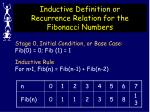 inductive definition or recurrence relation for the fibonacci numbers13