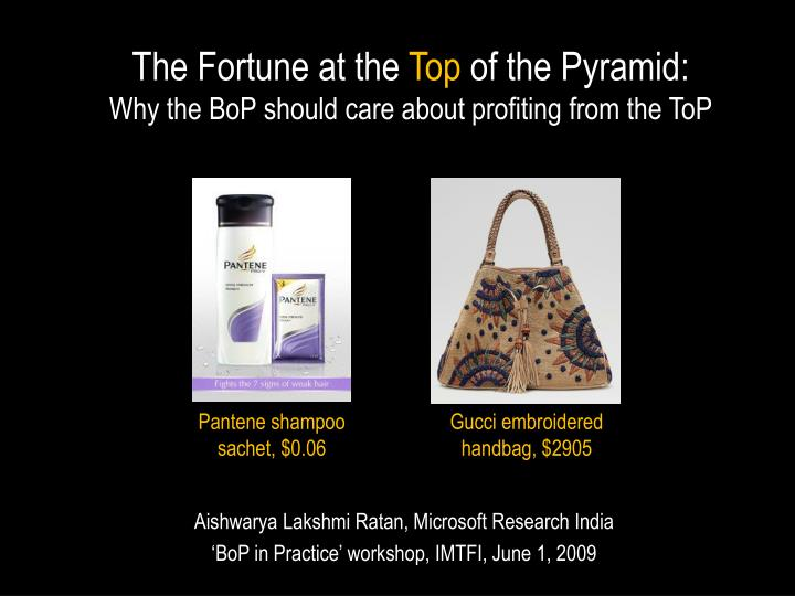 The fortune at the top of the pyramid why the bop should care about profiting from the top