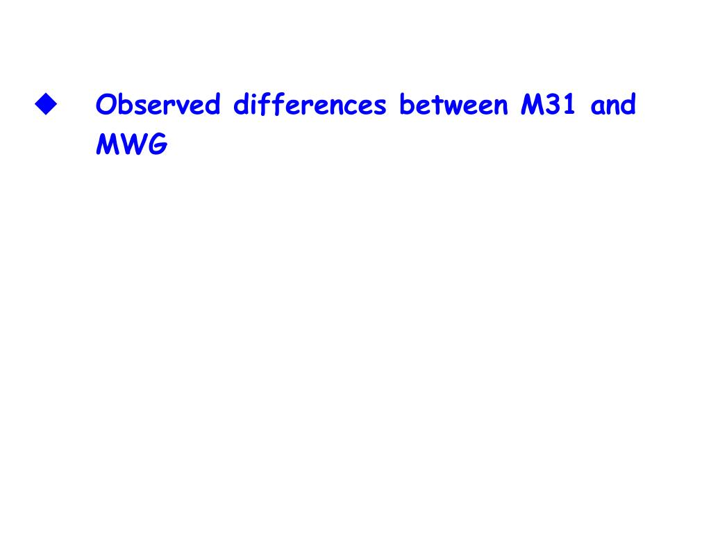 Observed differences between M31 and MWG