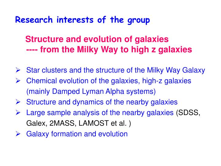 Research interests of the group