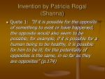 invention by patricia rogal shanna