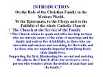 introduction on the role of the christian family in the modern world