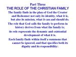 part three the role of the christian family