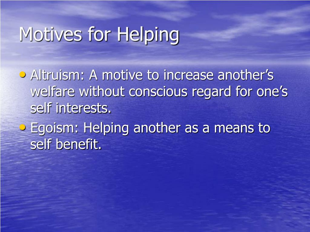 motives for helping l.