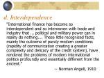 d interdependence