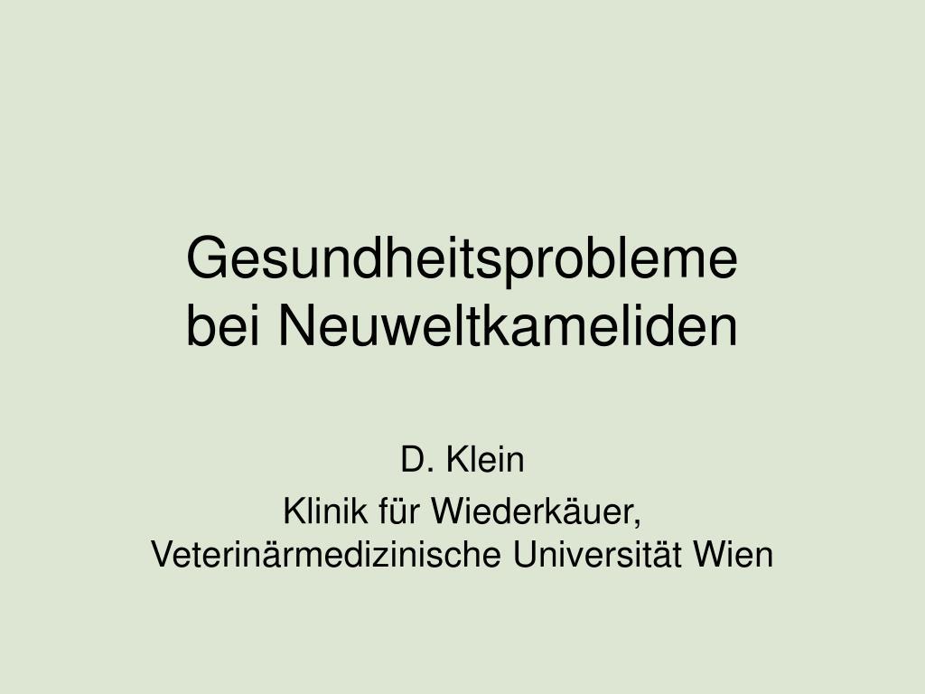 gesundheitsprobleme bei neuweltkameliden l.