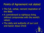 points of agreement not stated