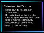 biotransformation excretion