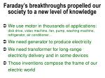 faraday s breakthroughs propelled our society to a new level of knowledge