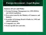 foreign investment legal regime