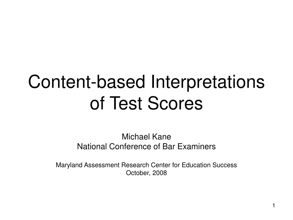 content based interpretations of test scores l.
