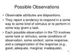 possible observations
