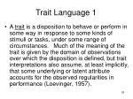 trait language 1