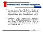 preventive stress and health management