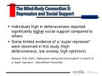 the mind body connection ii repression and social support