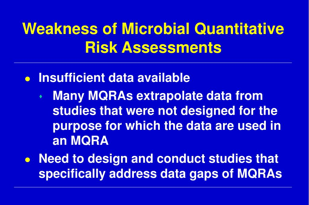 Weakness of Microbial Quantitative Risk Assessments