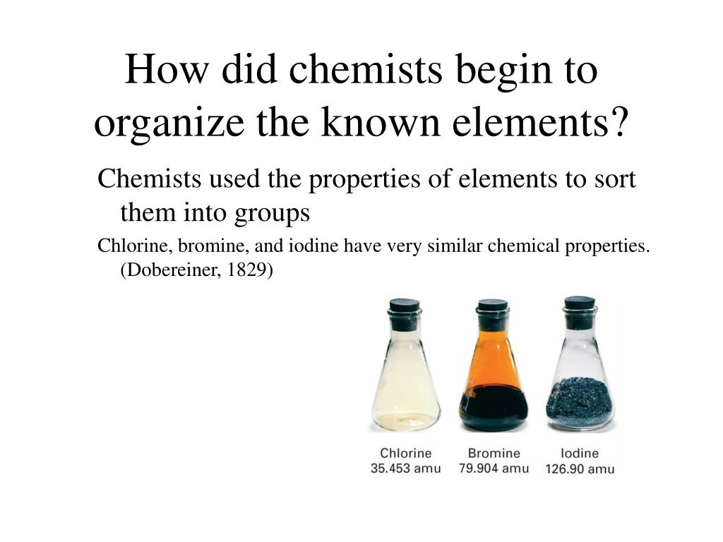 how did chemists begin to organize the known elements l.
