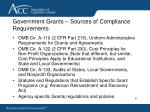government grants sources of compliance requirements