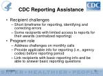 cdc reporting assistance