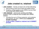 jobs created vs retained