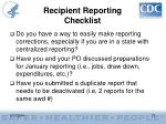 recipient reporting checklist27