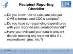 recipient reporting checklist28