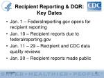 recipient reporting dqr key dates