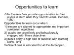 opportunities to learn