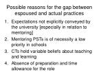 possible reasons for the gap between espoused and actual practices