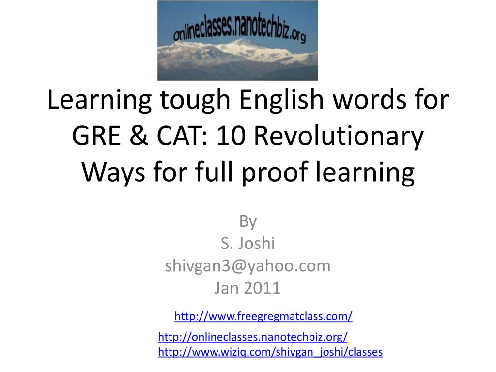 learning tough english words for gre cat 10 revolutionary ways for full proof learning l.