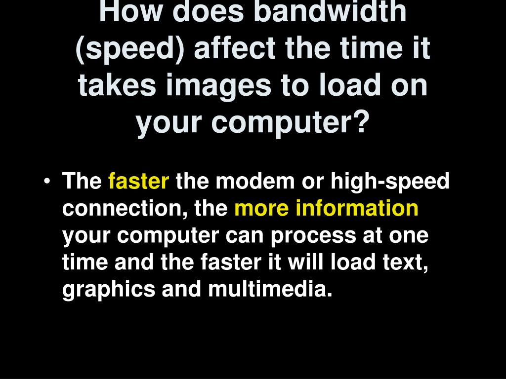 How does bandwidth (speed) affect the time it takes images to load on your computer?